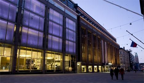 Stockmannin Helsingin tavaratalon julkisivuvalaistusta