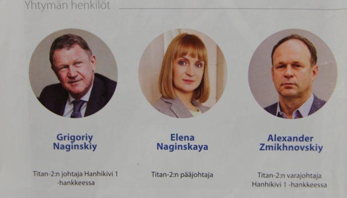 Titan-2 on Nagisnkyjen johtama yhtiö, jossa tytär on pääjohtaja ja isä hallituksen puheenjohtaja ja samalla Hanhikivi-projektin johtaja.