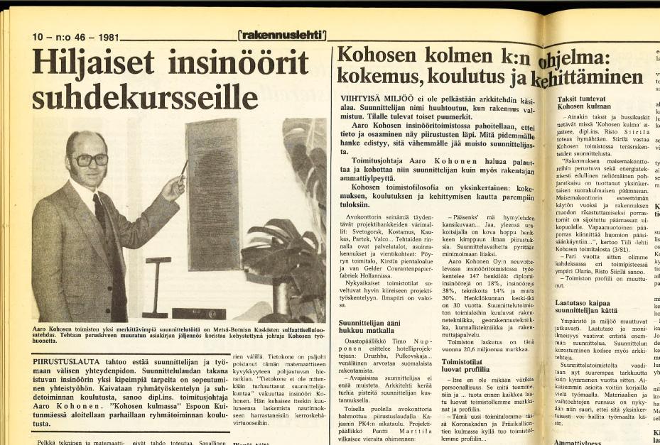 Teklan perustaja Aaro Kohonen ei itse tarvinnut tietokonetta suunnitteluun.