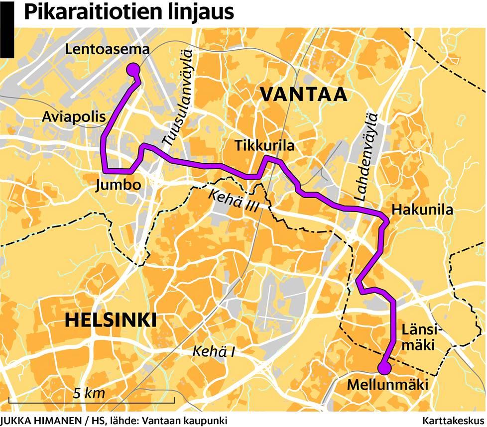 Vantaa Suunnittelee Pikavauhtia Uutta Pikaraitiotieta Raide